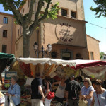 French Market in Provence and a familiar vineyard